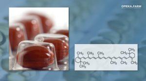 Kapsułka z beta-karotenem i wzór chemiczny beta-karotenu
